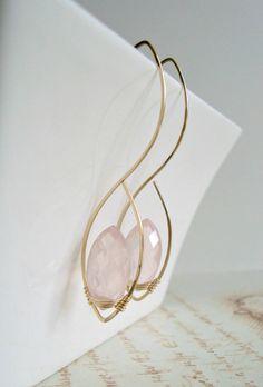 Rose Quartz Earrings Pink Gemstone Hoops Pink by BellaAnelaJewelry