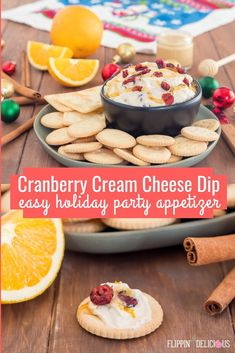 Easy Cranberry Cream Cheese Dip Recipe perfect for holiday parties. Perfect food allergy friendly holiday party recipe with dairy free, gluten free, and vegan options. Gluten Free Party Food, Gluten Free Drinks, Gluten Free Appetizers, Best Gluten Free Recipes, Allergy Free Recipes, Appetizer Recipes, Healthy Appetizers, Party Recipes, Diet Recipes