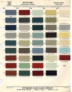Original VW Beetle Paint Schemes.