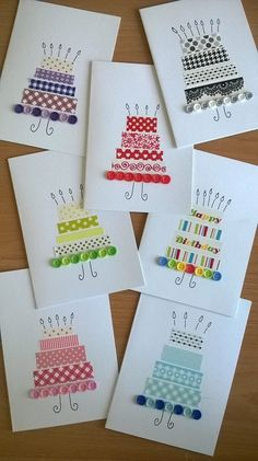 diy birthday decorations for women Slim Fit Jeans fr Damen Famous Last DIY Washi Tape Decorating Ideas Fabric Cards, Paper Cards, Diy Cards, Handmade Birthday Cards, Happy Birthday Cards, Greeting Cards Handmade, Simple Birthday Cards, Tape Crafts, Diy And Crafts