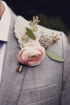 A Classic Garden Rose Boutonniere. A pink garden rose boutonniere with dusty miller and greenery, created by Jonica Moore Studio. Boutonnieres, Rose Boutonniere, Groomsmen Boutonniere, Wedding Boutonniere, Wedding Groom, Our Wedding, Dream Wedding, Rustic Wedding, Wedding Ceremony