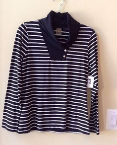 NWT ANNE KLEIN WOMEN'S MULTI-COLOR COTTON BLEND LONG SLEEVE BLOUSE SIZE M-$79 #AnneKlein #Blouse