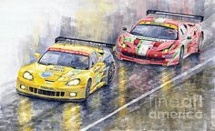 Le Mans 2011 GTE Pro Chevrolette Corvette C6R vs Ferrari 458 Italia