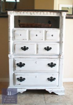 Distressed Black and White Tall Dresser / Chest of Drawers by Indigo Interiors on etsy www.IndigoInteriors.etsy.com Austin TX shabby chic white black rustic farmhouse cottage chic tv stand basket media console storage bedroom furniture