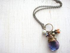 $22 Amethyst teardrop Necklace, Czech teardrop bead wire wrapped in antique brass wire