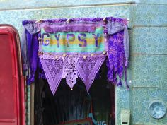Gypsy Vardo door curtain valance coins beads by TheSleepyArmadillo