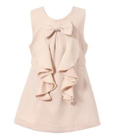 Look what I found on #zulily! Pink Bow Ruffle A-Line Dress - Toddler & Girls #zulilyfinds