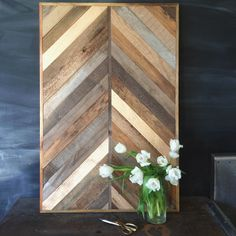 New Antiquity Wall Panel with gold accents. Made from reclaimed barn and pallet wood. White tulips, chalkboard wall.