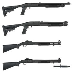 Mossberg shotguns - various models and configurations available. I prefer the ergonomics on these over the Remington models.