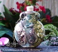 Old European Master Crafted Magical Arts™ Magical Jewelry, Bottle Necklace, Oil Bottle, Ceramic Beads, Alchemy, Christmas Bulbs, Artisan, Ceramics, Pendant