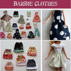 Easy Barbie Dress Up Patterns Make your own Barbie clothes! Inexpensive way to dress those naked garage sale barbies and use up used fabric scraps. Sewing Barbie Clothes, Barbie Clothes Patterns, Sewing Dolls, Clothing Patterns, Diy Clothes, Dress Patterns, Ag Dolls, Dress Sewing, Girl Dolls