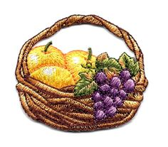 Fruit - Country - Fruit Basket Fully Embroidered Iron On Applique Patch
