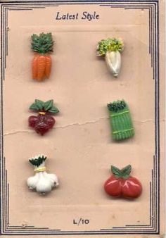 "ButtonArtMuseum.com - Card with 6 Vintage Realistic Vegetable Buttons on Vintage ""Latest Style"" Card"