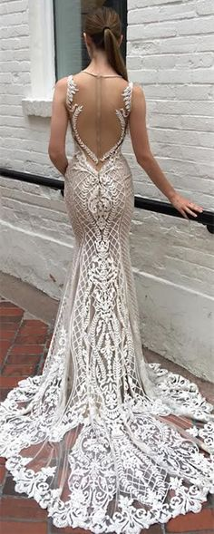 Mermaid Sweep Train Lace Wedding Dress, Sexy Wedding Dress Illusion Back with Detachable Train