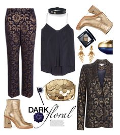 """In Bloom: Dark Florals"" by hamaly ❤ liked on Polyvore featuring Monsoon, Brunello Cucinelli, TIBI, MICHAEL Michael Kors, Maybelline, Oscar de la Renta, Christian Dior, Guerlain, outfit and ootd"