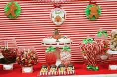 Lots of treats at a gingerbread candyland Christmas party!  See more party ideas at CatchMyParty.com!  #partyideas #christmas