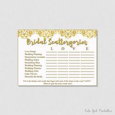 Scattergories - Printable - Instantd Download - Bridal Shower Game - Bridal Scattergories - Printable Game 0010G