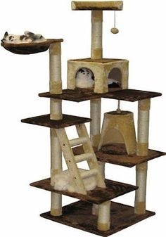 "Multi Cat Condo 72"" Brown Beige Tower Tree Cats Pet Toys Bed Furniture Kitten"