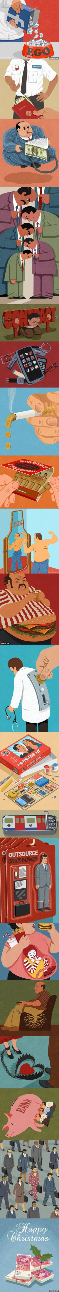 20 Satirical Illustrations That Capture The Humor In Our Modern-Day Flaws (By John Holcroft) The Effective Pictures We Offer You About Satire therapy A quality picture can tell you many things. Satire, Satirical Illustrations, Mejor Gif, Bizarre, Best Funny Pictures, Cool Art, Art Photography, Street Art, Illustration Art
