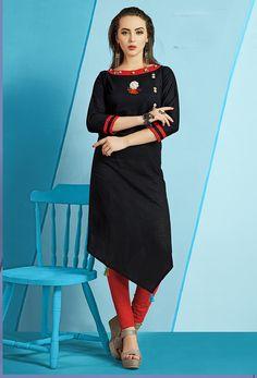 Readymade Black Cotton Slub Long Kurti #kurti #ladiestops #cottonkurti #kurtionline #longkurti #minidress #dress #onlineindiandress #sale#nikvik #freeshipping #usa #australia #canada #newzeland #Uk #UAE