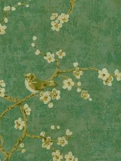 Wallpaper By The Yard  Gold Birds in Tree by WallpaperYourWorld, $6.99