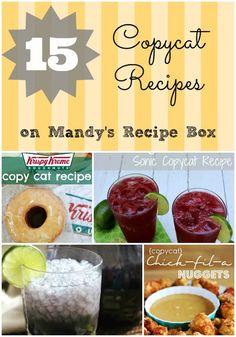 15 Copycat Recipes on Mandy's Recipe Box Cat Recipes, Cooking Recipes, Yummy Recipes, Cooking Tips, Dinner Recipes, Donut Recipes, Dinner Ideas, Crunch Bars Recipe, Restaurant Recipes