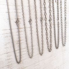 One adjustable stainless steel necklace chain with artisan clasp. Adjust length by hooking the clasp through any link. Necklace Chain, Arrow Necklace, Stainless Steel Necklace, Brass Chain, Copper Wire, Silver Color, Artisan, Metal, Silver Plate