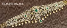 Vanki Designs Jewellery, Vaddanam Designs, Gold Bangles Design, Gold Earrings Designs, Gold Designs, Real Diamond Necklace, Diamond Jewelry, Emerald Necklace, Diamond Necklaces