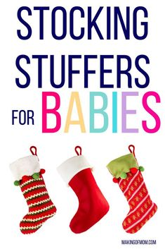 Stocking stuffers for babies - 50+ ideas for baby's first Christmas. Are you looking forward to starting family traditions with your baby? Here's a lovely one you can start now - the Christmas stocking. You'll need ideas for gifts and products you can put in the stocking. Here are some ideas - necessities, essentials, practical things and some cute and fun toys. Most are under $10 or $15 because you don't need to budget a lot of money for baby's first Christmas.