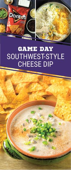 Sponsored by Frito-Lay. As the quarterback of your game day snack table, this Southwest-Style Cheese Dip is sure to score big. With DORITOS® Nacho Cheese Flavored Tortilla Chips for dipping, this combination of pepper jack and cheddar cheese, jalapeños, black beans, and southwest seasoning is the epitome of the perfect Super Bowl LII snack. Grab everything you need for this cheesy recipe before kickoff to elevate your entertaining game.