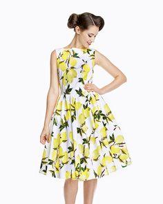 Audrey' Lemon Print Swing Dress
