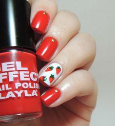 Strawberry nails - strawberries - dotting tool - studs - Layla N°05 Gel Effect.