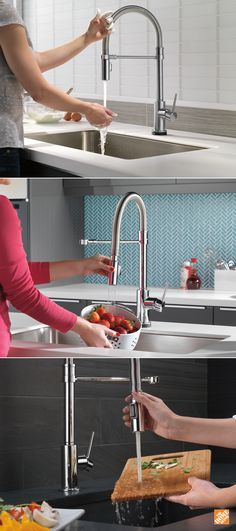 This sophisticated kitchen faucet makes cooking and cleaning easier than ever. Simply touch the Delta Trinsic PRO faucet anywhere on the spout or handle start and stop the flow of water. The spring-design undocking spout is easily disconnected then magnetically re-docked for a free range of motion. And the simple industrial-chic look is right at home in any modern kitchen. Click through to see more of this exceptional faucet at The Home Depot.