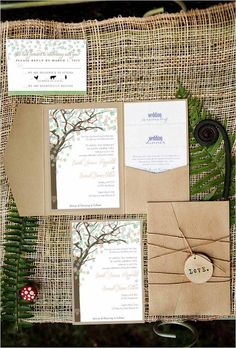 Rustic wedding invitation set, mint wedding invitation, tree invitation, spring wedding trends 2013. $2.00, via Etsy.