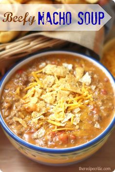 BEEFY NACHO SOUP: This soup is quick and easy and absolutely delicious! 1 lb lean ground beef 1 package taco seasoning 1 can ounce) condensed nacho cheese soup 1 can oz) diced tomatoes and green chilis, undrained 1 cups milk cup sharp cheddar cheese Mexican Food Recipes, Beef Recipes, Soup Recipes, Great Recipes, Dinner Recipes, Cooking Recipes, Favorite Recipes, Indian Recipes, Nacho Cheese Soup Recipe