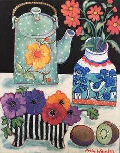 Holly Wojahn - Teapot, Kiwi & Stripes