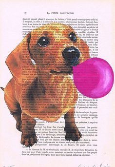 Daschund with bubblegum Acrylic paintings Original by Cocodeparis