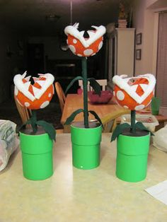Instructions on how to make Piranha Plant Centerpieces for Super Mario Themed Birthday Party