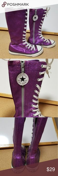 Converse All Star Chuck Taylor purple sparkly shoe These shoes are in really good shape! They zip all the way up and fasten closed with velcro whih is under the converse all star white circle shown in pics. These arr size 13 girls. The tall part of the shoe measures 10 & 1/2 inches from the sole to the top of the shoe. These are so cute, great for back to school! Converse Shoes Sneakers