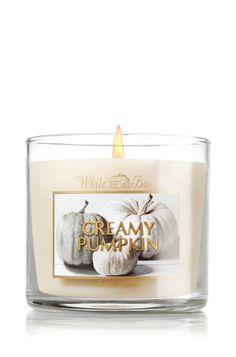 Creamy Pumpkin 4 oz. Small Candle - Slatkin & Co. - Bath & Body Works | Indulge! Sumptuous and soothing, we adore this autumn blend of spiced pumpkin drizzled with sweet caramel and topped with warm cream!