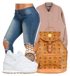"""""""Still a Dough Boy,so I'm walkin' with the Bands out."""" by bria-myell ❤ liked on Polyvore featuring MCM, Merona and New Balance"""