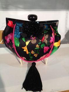 cf42cddb77 Aria by Mary Frances Black Tassel Yellow Pink Silk Bead Bag Handbag Purse  NEW Mary Frances