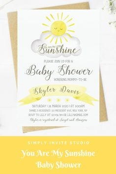This You Are My Sunhine Baby Shower Invitation is perfect for either a little boy or girls' baby shower. This easy to edit baby shower template can be combined with matching books for baby card, diaper raffle card and thank you card. It will be a great addition to your Your Are My Sunshine Theme baby shower. Yellow Baby Showers, Baby Shower Yellow, Gender Neutral Baby Shower, Baby Boy Shower, My Little Sunshine Baby Shower, Sunshine Baby Showers, Baby Shower Parties, Baby Shower Themes, Baby Shower Decorations
