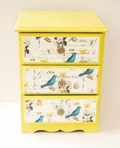 Bedside cabinet in Annie Sloan English Yellow with decoupage drawer fronts and vintage fittings