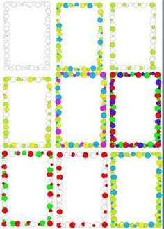 Clipart - Boarders of Circles Red Green, Yellow, Frame Clipart, Boarders, White Image, First Day Of School, Circles, Red And White, Lime