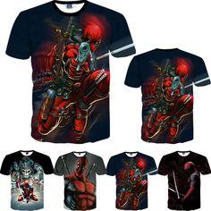 2016 American Comic Marvel Deadpool Printed T-Shirt Men/Women Superhero Swag Funny T Shirts Summer Tee Tops T Shirt Clothing Co, 3d T Shirts, Funny Shirts, Shirt Skirt, American Comics, Long Jackets, Deadpool Gifts