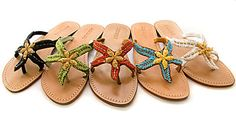Mystique Starfish Sandals with Gold Starfish
