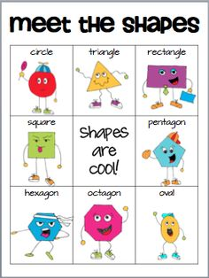 "I think this would be a fun ""shape bingo game."" Classroom Freebies Too: Meet the Shapes"