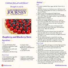 Sparkling Lemonade and Raspberry Blueberry Tarte recipes inspired by the upcoming movie The Hundred Foot Journey by DreamWorks. Tart Recipes, Dessert Recipes, Muffin Recipes, 100 Foot Journey, Just Desserts, Delicious Desserts, Sparkling Lemonade, Berry Tart, Disney Food