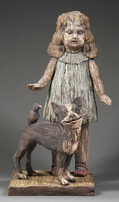 """Margaret Keelan        For the past few years my sculptors have been glazed, stained, fired, then glazed, stained and fired again to give the surfaces the look of disintegrating paint over weathered wood    """"Bird Dog"""", 2011  24"""" x 14"""" x 9 """" deep  Clay, glaze"""